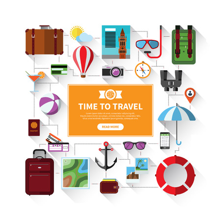 tourism: Icons set of traveling, tourism, summer vacation