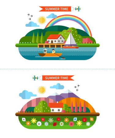 arcoiris caricatura: Conjunto de fondos de paisaje de verano en estilo plano Vectores