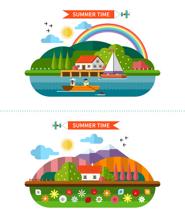 house icon: Set of summer landscape backgrounds in flat style