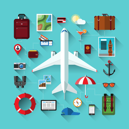 sunglasses recreation: Flat design modern vector icons set of traveling on airplane, planning a summer vacation, tourism, journey in summer holidays. Travel objects and passenger luggage.