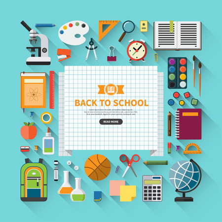 in the back: Back to school flat design modern vector illustration background with education icon set. School supplies : schoolbook, notebook, pen, pencil, paintbrush, paints, stationary, training aids, ball, school bag etc.