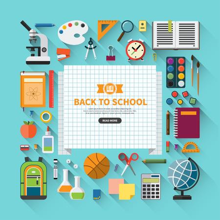 scuola: Ritorno a scuola design piatto moderno illustrazione vettoriale sfondo con l'icona di istruzione set. Suppellettili di scuola: libri scolastici, taccuino, penna, matita, pennello, vernici, cancelleria, materiali didattici, palla, sacchetto di scuola, ecc