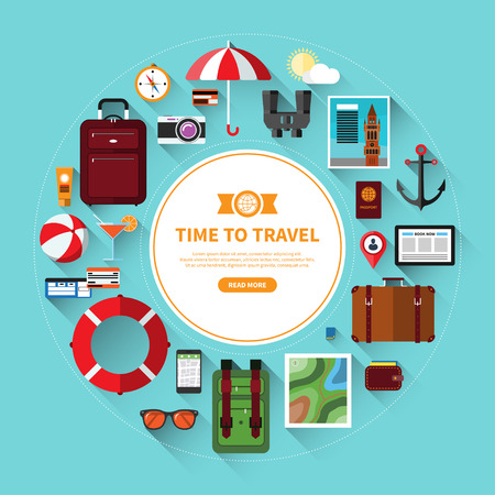 illustration journey: Icons set of traveling, planning a summer vacation, journey in holidays. Tourism and journey objects, items and passenger luggage. Flat design vector illustration background with long shadows