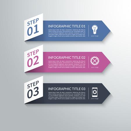近代的な 3 d 紙矢印インフォ グラフィックのデザイン要素で物質的な様式。ベクトルの図。ワークフロー レイアウト、プレゼンテーション、図、グ