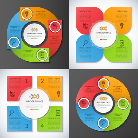 Set of business infographic circles, banners, templates, design elements. Can be used for presentation, workflow layout, brochure, chart, number and step up options, web design. Vector illustration Vectores