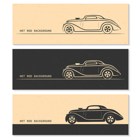 oldtimer: Set of vintage retro sports car silhouettes. Hot rod outlines isolated on grunge background Illustration