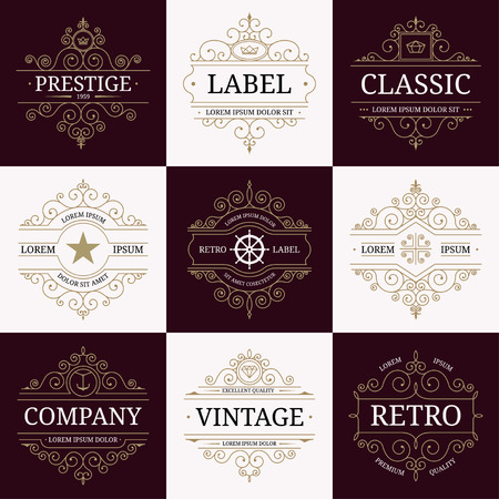 jewelry design: Set of retro vintage luxury insignias logotypes with flourishes elegant calligraphic design elements. Restaurant, boutique, cafe, hotel, jewelry, heraldic identity. Vector illustration Illustration