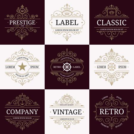 Set of retro vintage luxury insignias logotypes with flourishes elegant calligraphic design elements. Restaurant, boutique, cafe, hotel, jewelry, heraldic identity. Vector illustration Ilustração