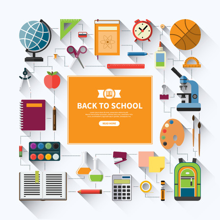 돌아 가기 교육 아이콘을 설정 학교 평면 벡터 배경. 학교 용품 : 등 교과서, 노트북, 펜, 연필, 페인트, 고정, 교육 보조, 학교 가방 흰색 배경에 고립