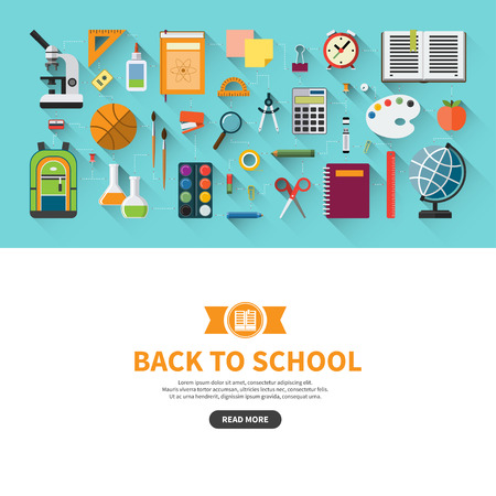 pen: Back to school flat design vector banner with education icon set. School supplies : textbook, notebook, pen, pencil, paints, stationary, training aids, school bag, ball etc. Space for text