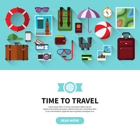 voyage: Flat design vector banner with icons of planning a summer vacation, traveling and tourism. Travel objects and accessories, passenger luggage and equipment. Space for text