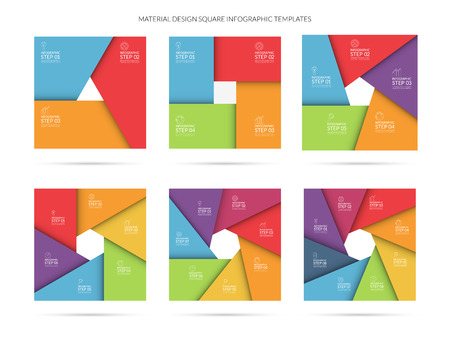 Vector infographic template set in material style. Can be used for graph, cycling diagram, round chart, workflow layout, number options, web design. Business concept with 3, 4, 5, 6, 7, 8 steps Illustration