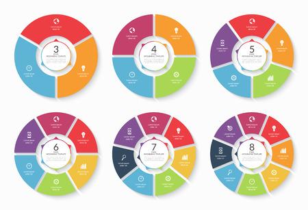 Vector infographic cirkel set. Sjablonen voor grafiek, fietsen diagram, ronde grafiek, workflow lay-out, het aantal opties, web design. Concept met 3, 4, 5, 6, 7, 8 stappen, onderdelen, opties