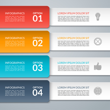 Vector infographic design template. Can be used for workflow layout, diagram, graph, number options, step up options, web design. 4 steps business concept Иллюстрация