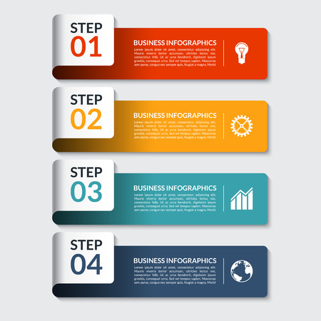 Infographic design number banners template. Can be used for workflow or graphic layout, diagram, graph, number options, step presentation, web design. 4 steps business concept. Vector illustration Çizim