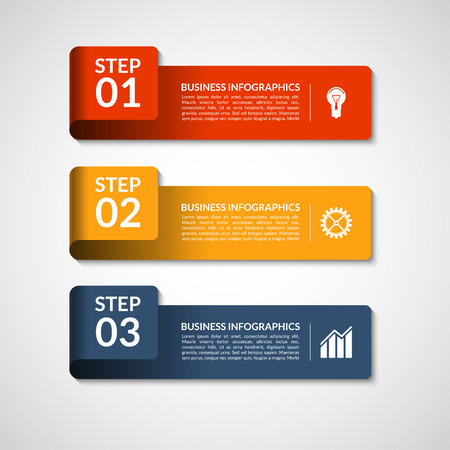 progress steps: Vector number banners template for infographics. Can be used for workflow or graphic layout, diagram, graph, number options,  presentation, web design. 3 steps business concept