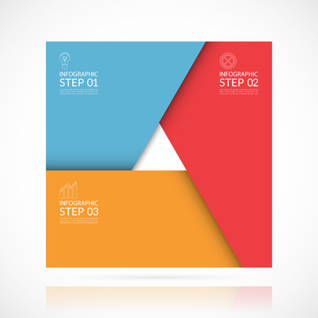 Vector infographic template in material style. Can be used for graph, cycling diagram, round chart, workflow or graphic layout, number options, web design. Business concept with 3 steps, parts, options Ilustração