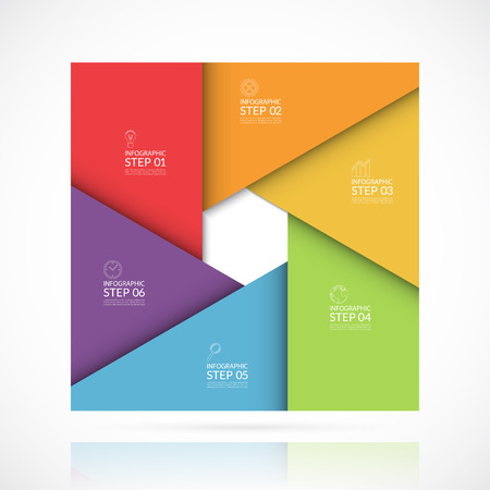 six: Vector infographic template in material style. Can be used for graph, cycle diagram, round chart, workflow or graphic layout, number options, web design. Business concept with 6 steps, parts, options