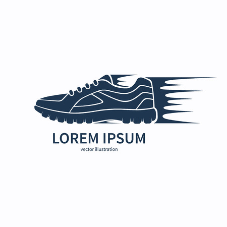 sports shoe: Speeding running shoe icon, symbol or logo. Sneaker or sports shoe silhouette with speed and motion trails. Vector illustration