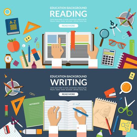 教育: 学校や教育は、読み取りと書き込みコンセプト バナーを設定します。手で開かれた本。ノートに書き込みます。学校用品。デスクトップ上の平面図です。フラット