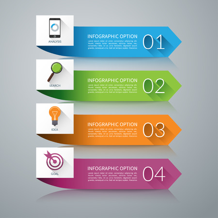 Arrow design elements for infographics. Can be used for workflow layout, diagram, graph, number options,  presentation, web design. 4 steps business concept. Vector background