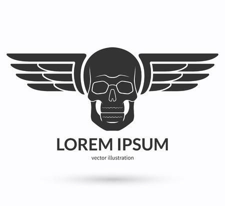 Cráneo con alas logotipo, emblema, icono, símbolo, signo. Ilustración vectorial Foto de archivo - 43694204