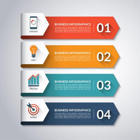 Arrow infographic template. Minimale kleurrijke genummerde banners voor diagram, grafiek, presentatie, grafiek, stap opties, webdesign. 4 stappen, onderdelen, opties. Vector achtergrond Stock Illustratie