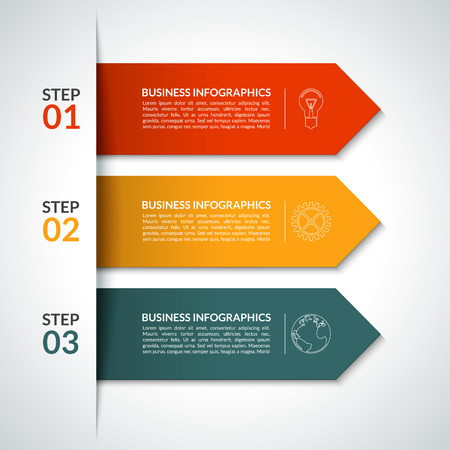 Arrow infographic design template. Minimal style. 3 steps, parts, options. Vector background