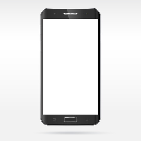 Modern detailed realistic smartphone, mobile phone, cellphone, tablet vector mockup. Blank screen. Isolated on light background Illustration