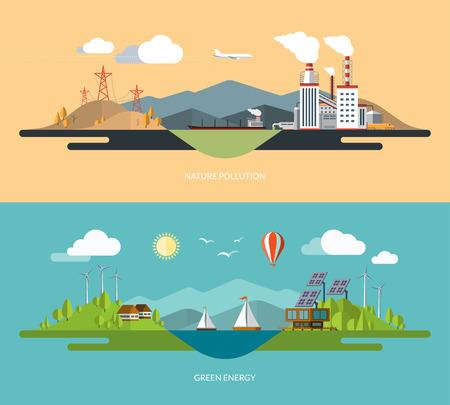Ecologia, ambiente, energia verde, vita eco, le emissioni, il concetto di natura inquinamento illustrazioni fissati in stile design piatto