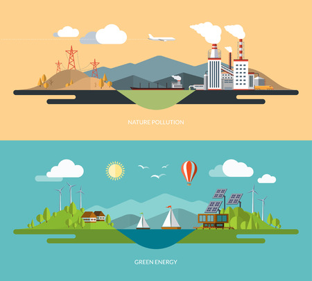 pollution: Ecology, environment, green energy, eco life, emissions, nature pollution concept illustrations set in flat design style Illustration