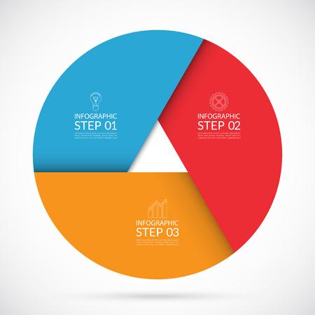 Vector kleurrijke infographic cirkel sjabloon in materiële stijl. Kan gebruikt worden voor grafiek, fietsdiagram, ronde grafiek, aantal opties, webdesign. 3 stappen business concept