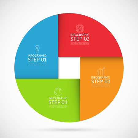 progress steps: Vector colorful infographic circle template in material  style. Can be used for graph, cycling diagram, round chart, number options, web design. 4 steps business concept