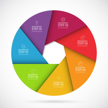 chart graph: Vector colorful infographic circle template in material  style. Can be used for graph, cycling diagram, round chart, number options, web design. 7 steps business concept Illustration