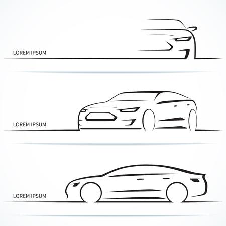 高級車のシルエットのセット。3 つの角度で近代的なスポーツ セダン。ベクトル図  イラスト・ベクター素材