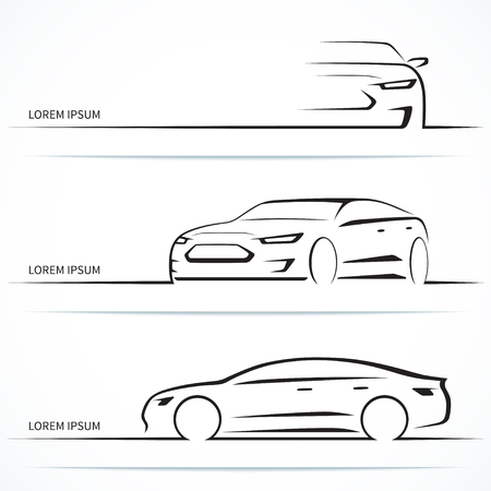 Set of luxury car silhouettes. Modern sports sedan in three angles. Vector illustration