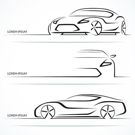 icono deportes: Conjunto de siluetas de coches modernos. Coche deportivo en tres ángulos. Ilustración vectorial