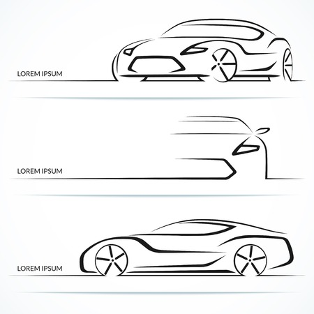white star line: Set of modern car silhouettes. Sports car in three angles. Vector illustration