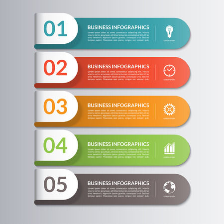 Infographic design template. Can be used for workflow or graphic layout, diagram, report, graph, number options, step presentation, web design. 5 steps, parts, options, stages. Vector illustration Çizim