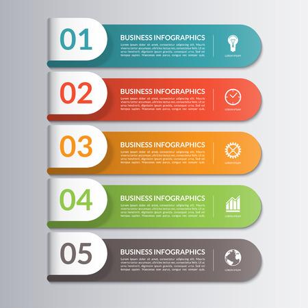 Plantilla de diseño Infografía. Puede ser utilizado para el flujo de trabajo o el diseño gráfico, diagrama, informe, gráfico, opciones numéricas, presentación paso, diseño de páginas web. 5 pasos, piezas, opciones, etapas. Ilustración vectorial Ilustración de vector