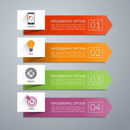 Arrow design elements for business infographics. Minimal colorful numbered banners for diagram, graph, report, presentation, chart, web design. 4 steps, parts, options, stages. Vector background