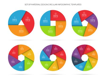 diagrama de procesos: Vector colorido plantilla círculo infografía fijó en estilo material. Puede ser utilizado para el gráfico, diagrama ciclismo, tabla redonda, opciones numéricas, diseño de páginas web. Concepto de negocio con 3, 4, 5, 6, 7, 8 pasos