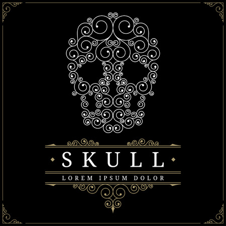 Skull retro vintage luxury logo template with flourishes elegant calligraphic ornamental lines. Vector illustration