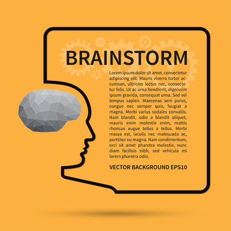 thinking icon: Brainstorm, creative thinking, business idea background concept. Wire silhouette of a human head with brain in polygon style forms a square text frame. Vector design template