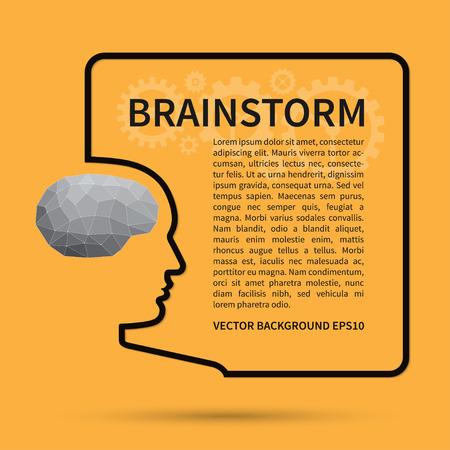 gente pensando: Lluvia de ideas, el pensamiento creativo, idea de negocio concepto de fondo. Silueta de alambre de una cabeza humana con el cerebro en estilo polígono forma un marco de texto cuadrado. Vector plantilla de diseño Vectores