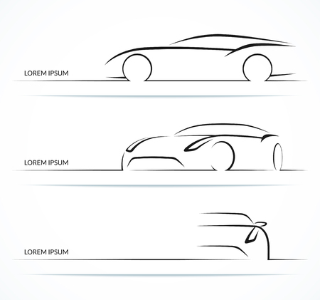 Set of car silhouettes. Hand drawn sports car outlines / contours isolated on white background. Vector illustration Иллюстрация