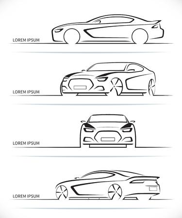 lineal: Conjunto de siluetas de coches deportivos. Automóvil de lujo abstracto moderno esboza  contornos aislados sobre fondo blanco. Frontal, trasera, lateral y 34 puntos de vista. Ilustración vectorial