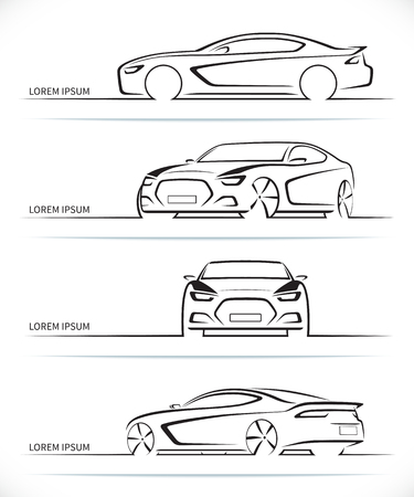 Set of sports car silhouettes. Modern abstract luxury automobile outlines / contours isolated on white background. Front, rear, side and 3/4 views. Vector illustration