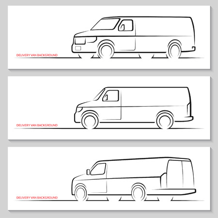 illustration isolated: Set of delivery van or commercial vehicle silhouettes. Hand drawn car outlines  contours isolated on white background. Side view, front and rear 34 views. Vector illustration Illustration