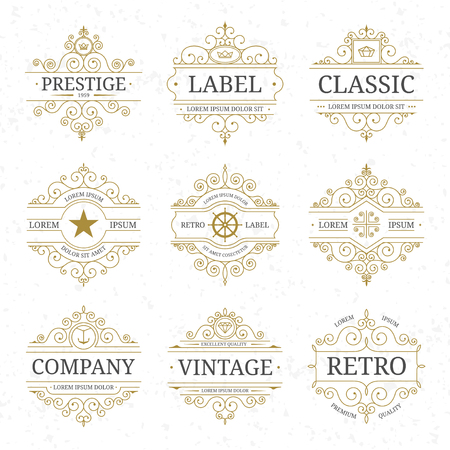 Vintage luxury logo template set with flourishes elegant lines. Restaurant, boutique, cafe, hotel, jewelry, heraldic identity. Vector illustration  イラスト・ベクター素材
